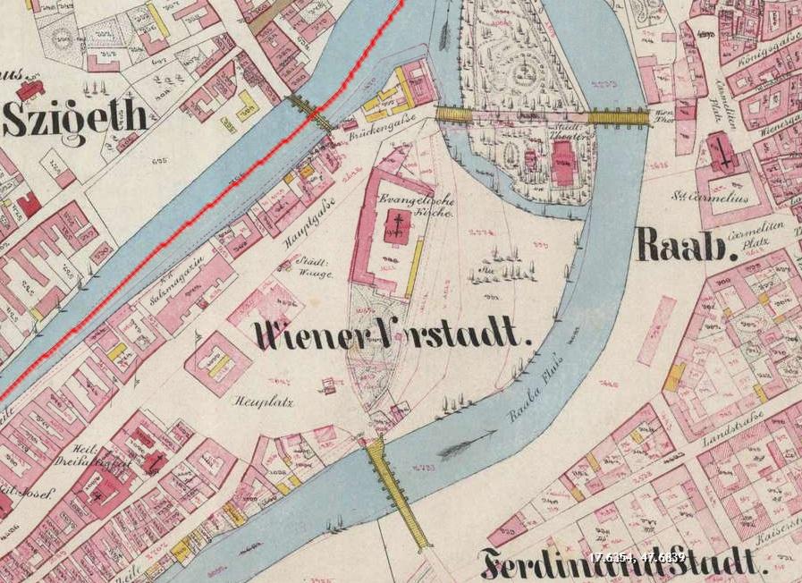 győr busz térkép Gyor terkep 1856   Régi Győr