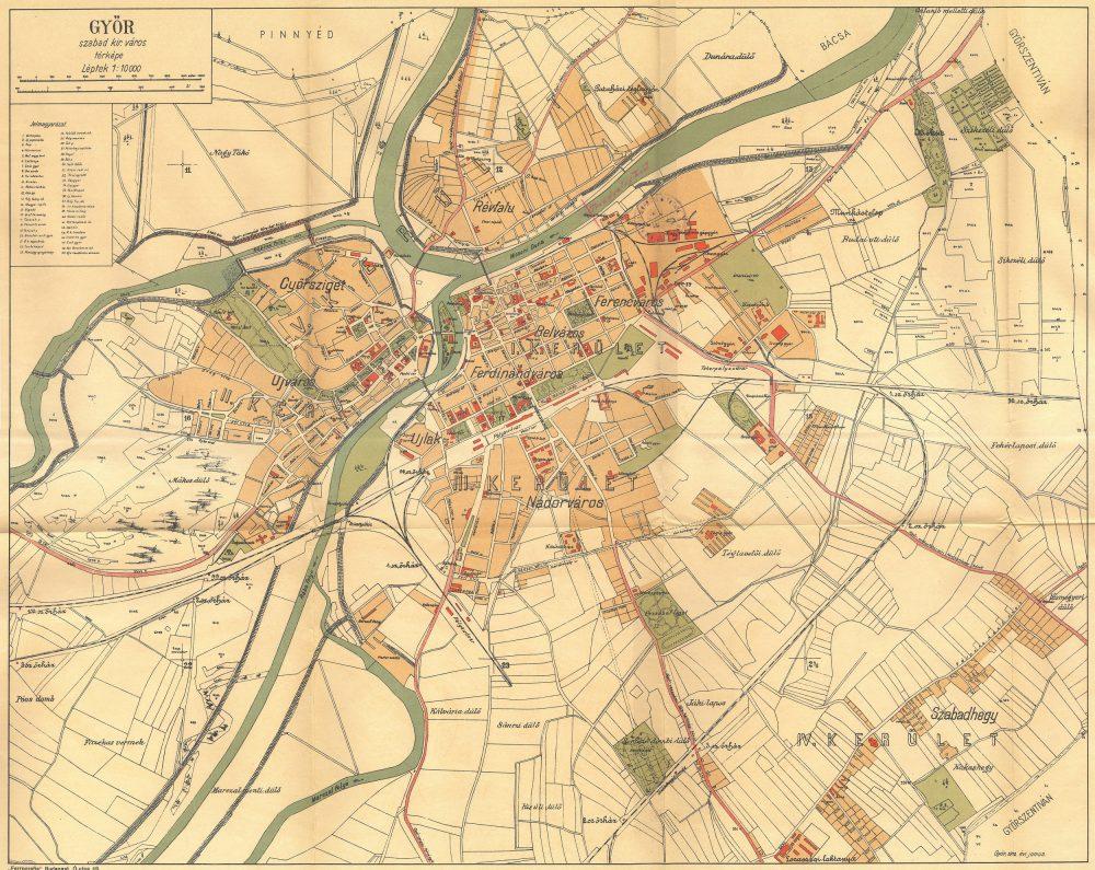 győr vasútállomás térkép Győr várostérképe 1912   Régi Győr győr vasútállomás térkép