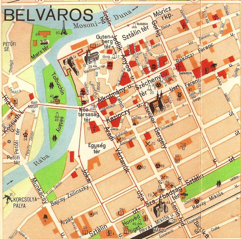 Belvaros Terkep 1958 Regi Gyor